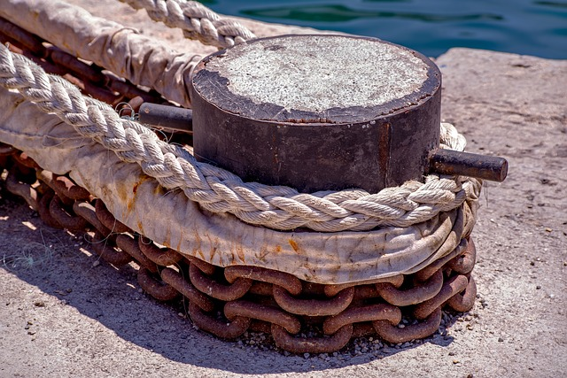Mooring, Rope, Cord, Chain, Knot, Mooring Bit, Old