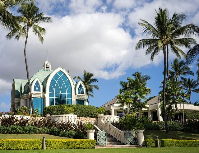 Church, Hawaii, Oahu, Ko Olina, Palm Trees, Religion