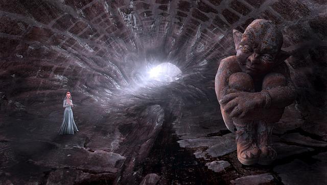 Fantasy, Tunnel, Kobold, Light, Princess, Woman