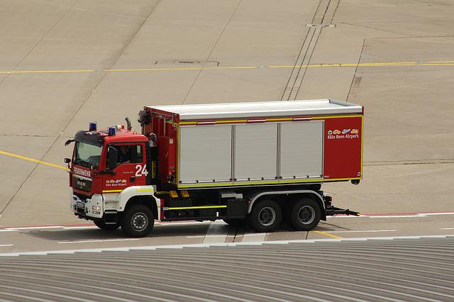 Airport, Fire, Use, Kölnbonn, Fire Engines, Drive