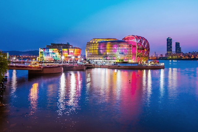 Korea, Seoul, Han River, Night View