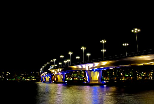 Bridge, Lights, Night, Lake, Finnish, Kuokkala