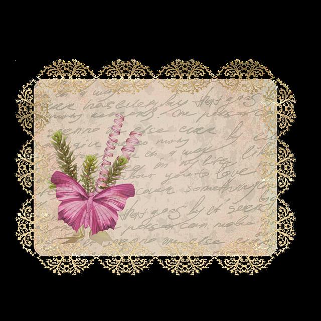 Tag, Vintage, Label, Butterfly, Floral, Old, Antique