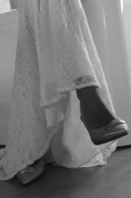 Wedding, Lace, Shoe, Black And White
