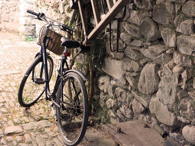 Bike Old, Stone, Ladder