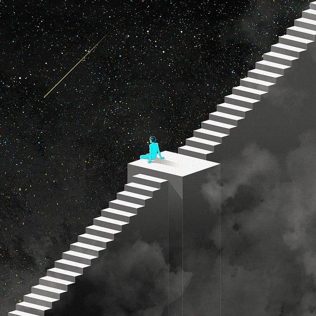 Fantasy, Night, Ladder, Universe, Stars