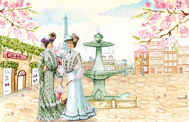 Vintage, Ladies, Paris, Plaza, Eiffel, Fountain