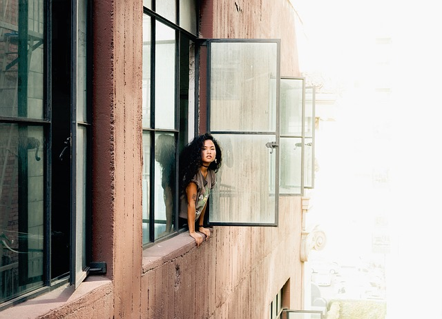 Building, Apartment, Windows, People, Girl, Lady
