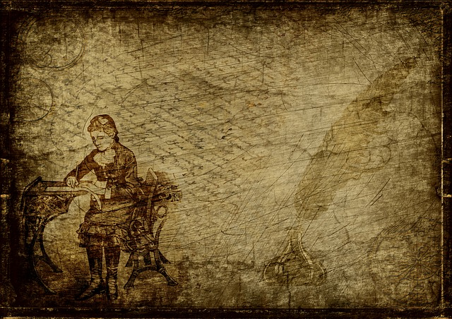 Desk, Lady, Feather, Write, Steampunk, Font, Drawing