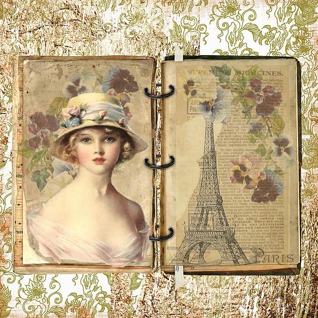 Paris, French, Vintage, Old, Lady, Flower, Hat