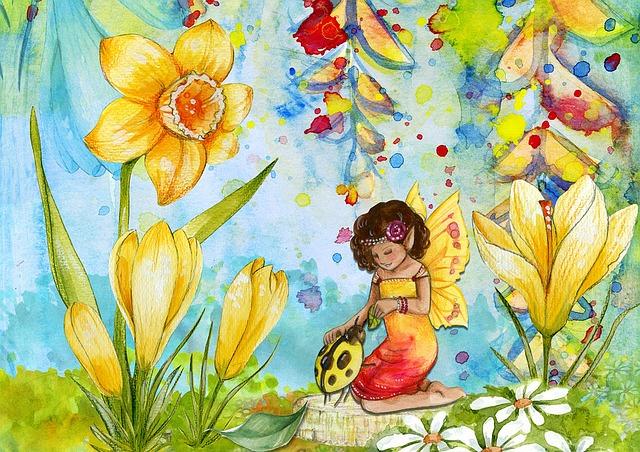 Fairy, Fantasy, Art, Scene, Design, Flower, Ladybug