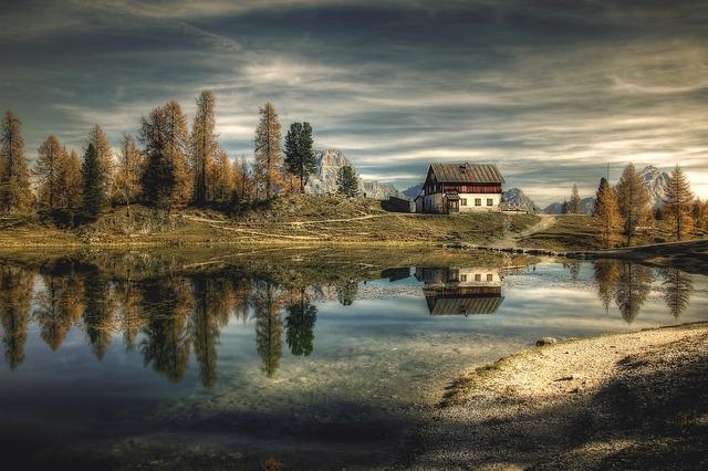 Hut, Dolomites, Bergsee, Lago Federa, Alpine, Alm