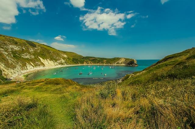 Lulworth Cove, Laguna, Ocean, Dorset