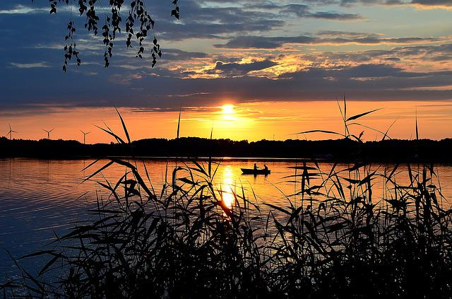 Sunset, Lake, Abendstimmung, Nature, Romance, Sun
