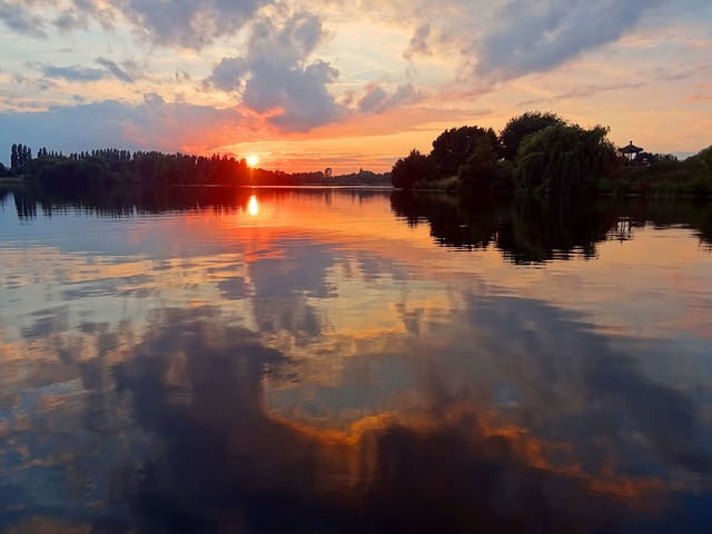 Sunset, Lake, Water Reflection, Clouds, Atmospheric