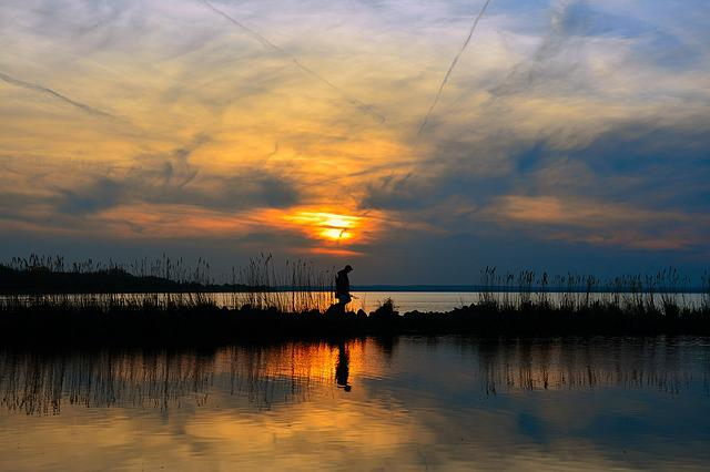 Lake Balaton, In The Evening, Dusk, Angler, Sunset
