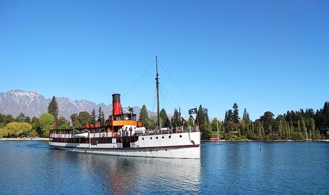 New Zealand, Lake, Ship, Lake View, Landscape, Blue Day