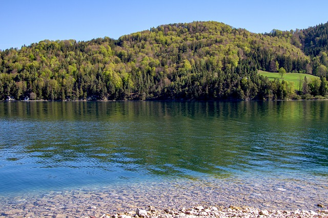 Lake, Fuschlsee, Waters, Nature, Blue Sky, Landscape