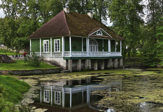 Summer House, Mirroring, Lake, Mood, Romantic, Building