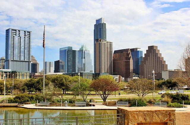 Skyline, Cityscape, Skyscrapers, Park, Lake, Austin