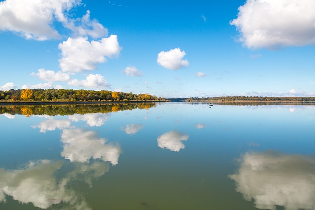 Mirroring, Lake, Autumn, Fishing Boat, Clouds, Blue Sky