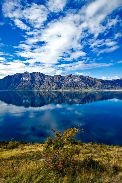 New Zealand, Sky, Clouds, Mountains, Lake, Reflections