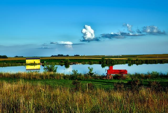 Iowa, Landscape, Sky, Clouds, Lake, Water, Pond