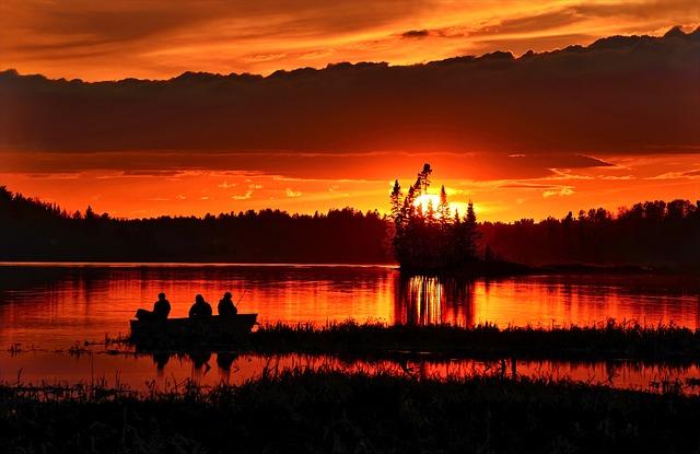 Sunset, Evening, Twilight, Fishermen, Clouds, Sky, Lake