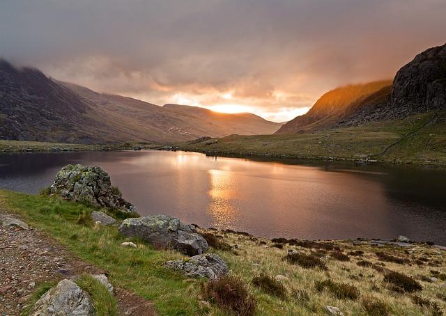 Llyn Idwal, Lake Dawn, Sunrise, Sun, Water, Dawn, Lake