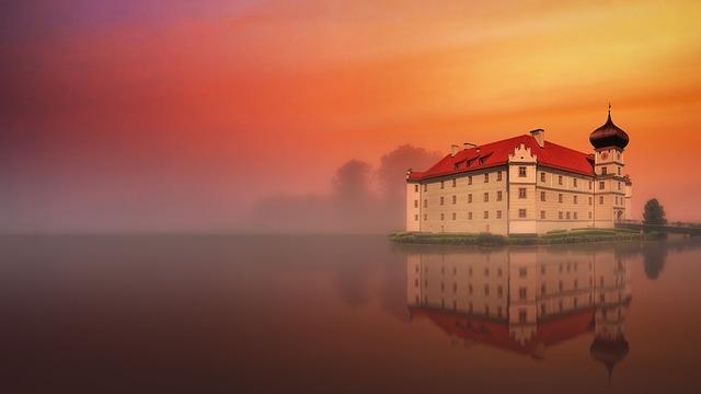 Sunset, Dawn, Sky, Dusk, Waters, Castle, Water, Lake
