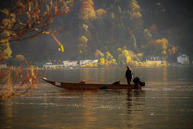 Fisherman, Lake, Fishing, Fishing Boat, Autumn