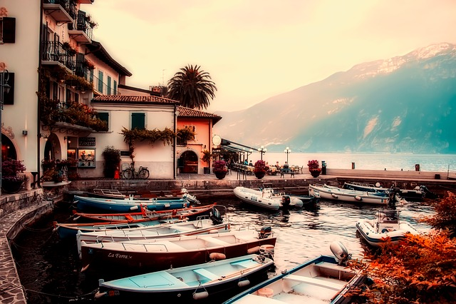 Lake Garda, Italy, Boats, Sunrise, Fog, Mountains