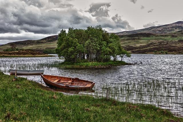 Lake, Boat, Island, Water, Coast, Hills, Idyllic