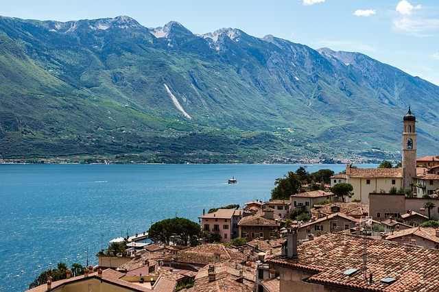 Italy, Lake, View, Garda, Home, Roof, Brick, Mountains