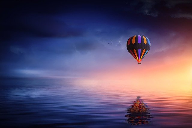 Hot Air Balloon, Lake, Balloon, Sunset, Sun, Blue