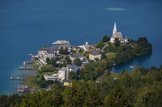 Village, Church, Island, Maria Wörth, Lake