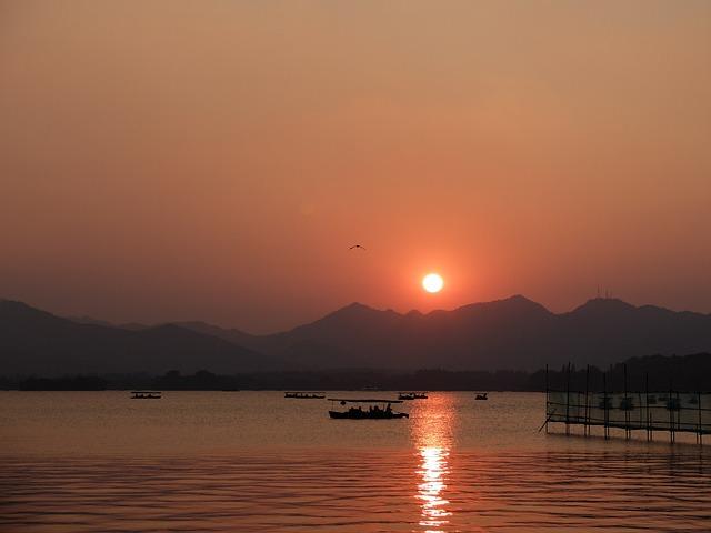 Sunset, Landscape, China Wind, Lake