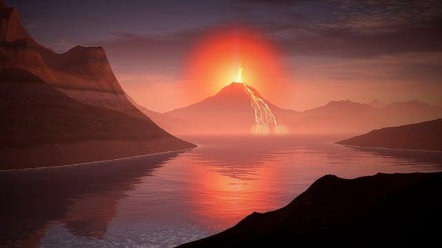 Volcano, Lava, Landscape, Glow, Lake, Mountains, Water