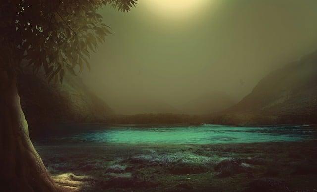 Fantasy, Tree, Moor, Lake, Mountain, Landscape, Fog