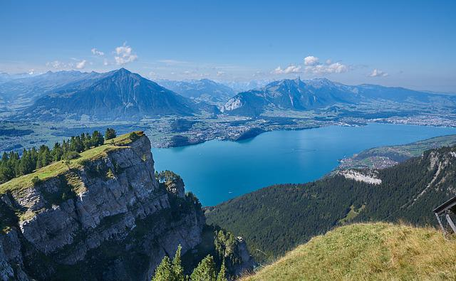 Lake, Summit, Beatenberg, Mountains, Switzerland, Alps
