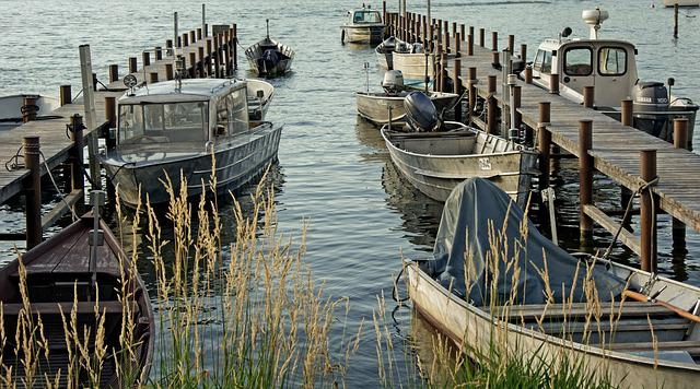 Port, Boats, Transport, Anchorage, Lake, Chiemsee