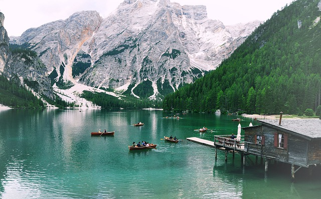 Boat, Mountain, Lake, Nature, Pragser Wildsee