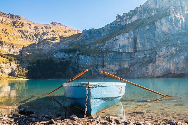 Boot, Lake, Mountains, Bergsee, Ship, Helm, Rowing Boat