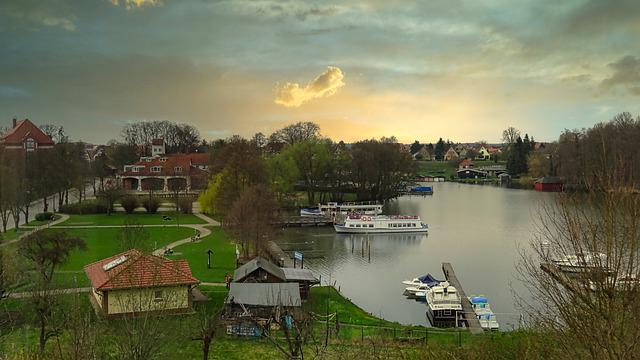 City ​​harbor, Templin, Uckermark, Lake, Ships, Boats