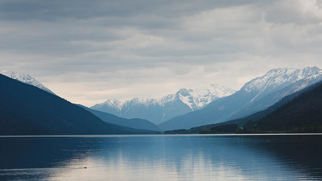 Clouds, Lake, Mountain Range, Mountains, Snow, Trees