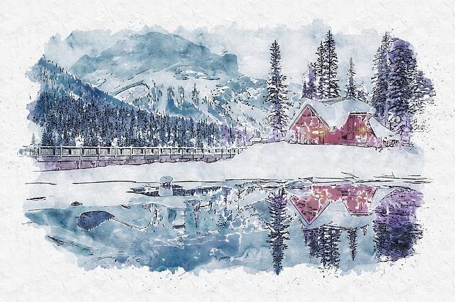 Canada, Sunset, Dusk, Log Cabin, Lake, Water