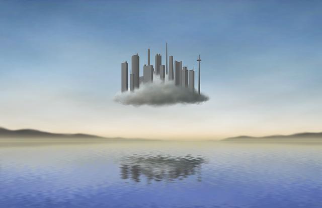 Cloud, City, Fantasy, Surreal, Lake, Mar, Float, Dream