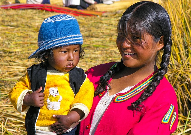 Lake, Titicaca, Peru, Woman, Child, The Nation, People