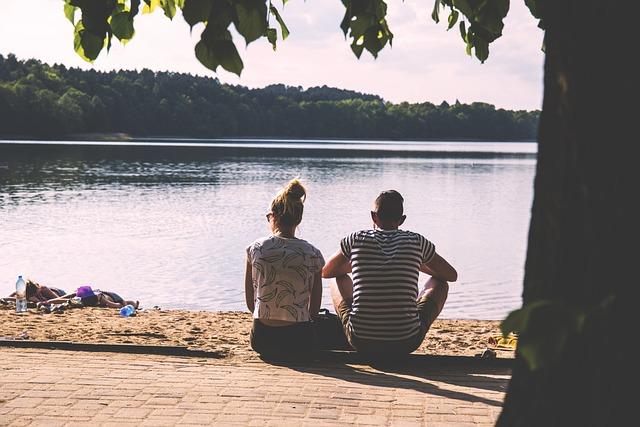Couple, Lake, Nature, People, Sky, Trees