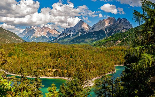 Mountains, Lake, Forests, Woods, Woodlands, Trees